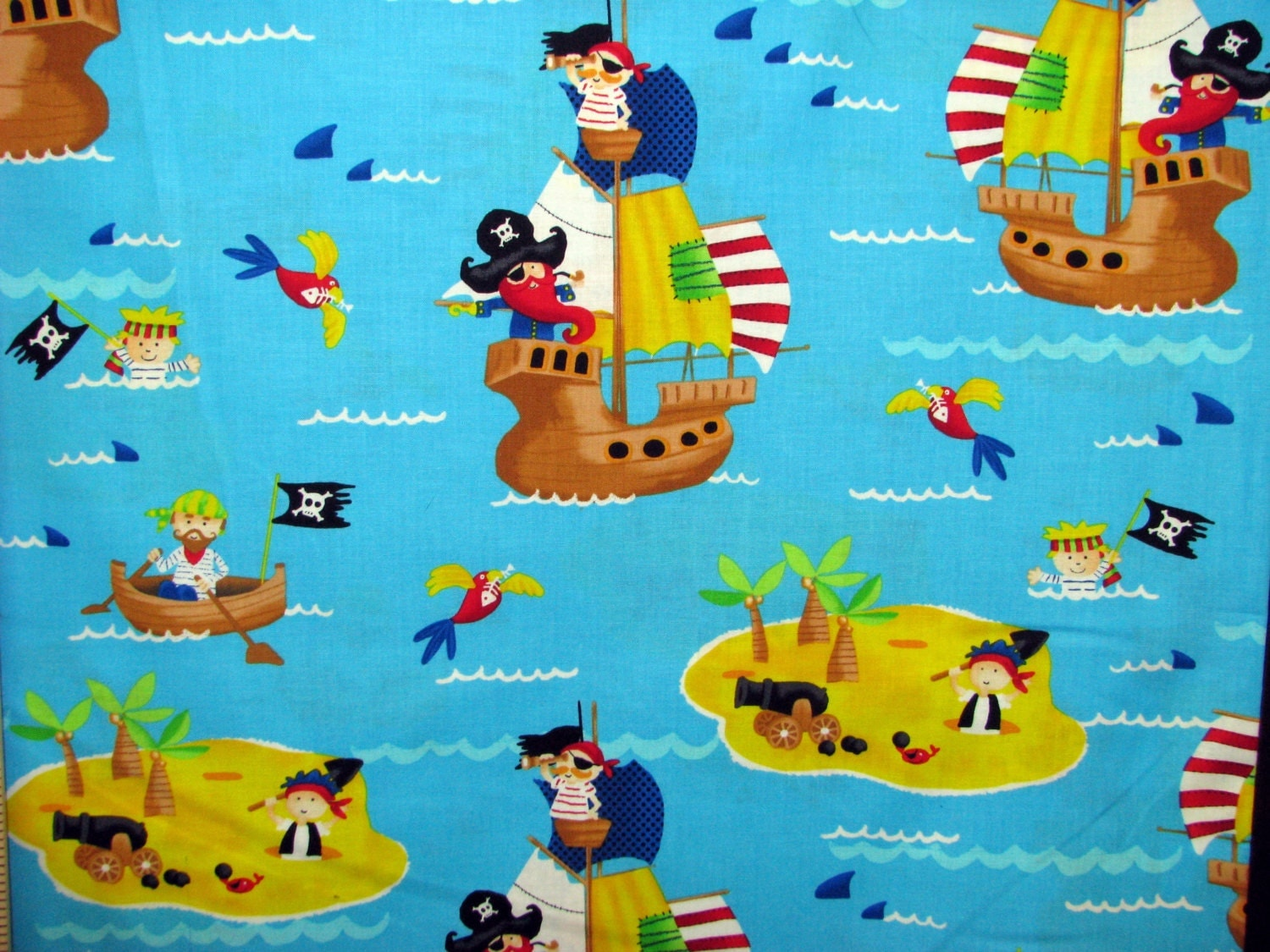 Shipwreck cotton fabric pirates at sea boys by fabricfrantic for Boys cotton fabric