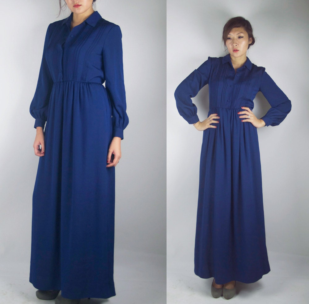 Shirt Maxi Dress on Woozwass Vintage Dark Midnight Blue Maxi Shirt Dress