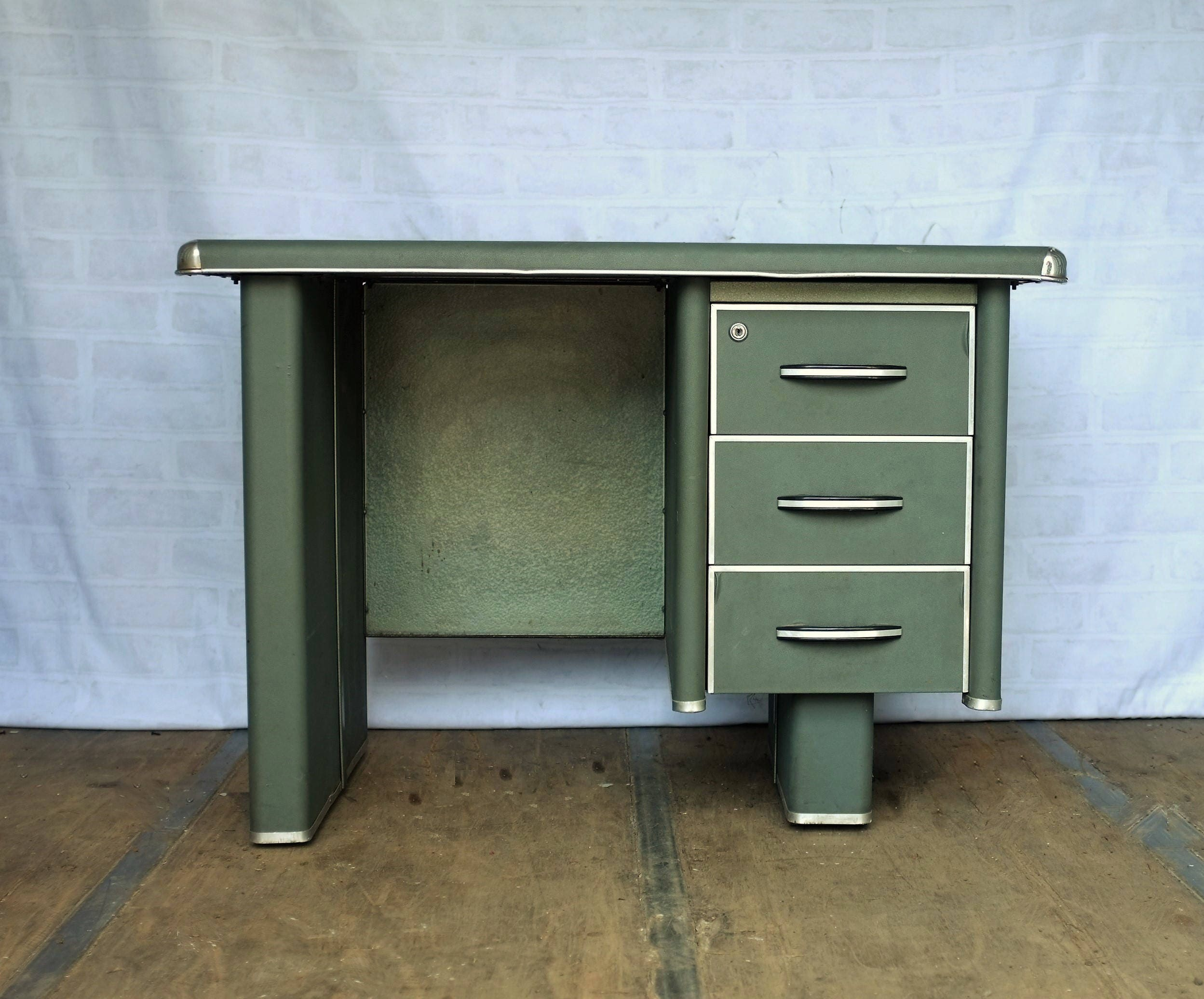 Little Green Art Deco Desk from France  Circa 1920s30s Vintage Furniture  Study
