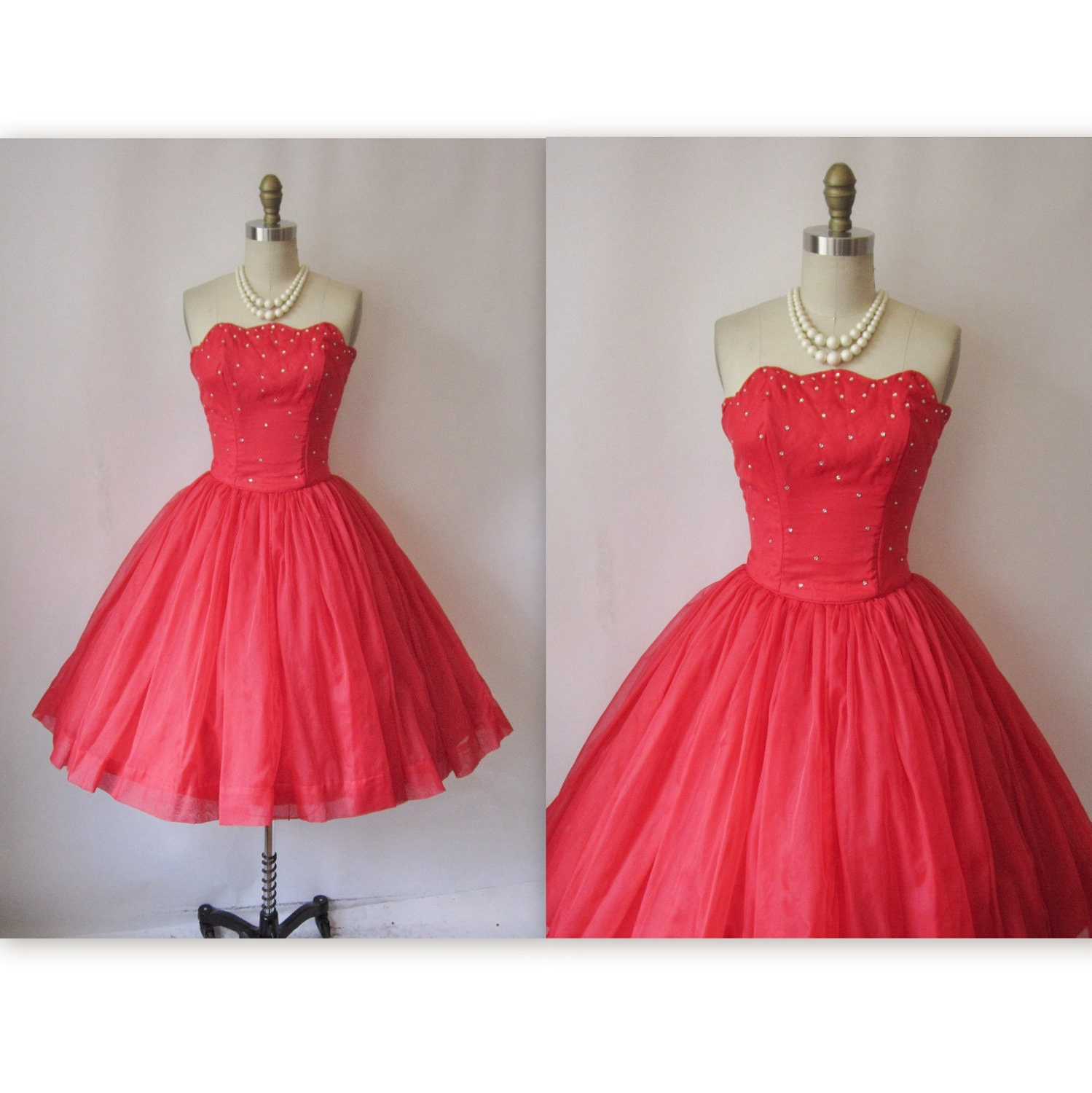 1950 s Red Dress Strapless Chiffon Prom by TheVintageStudio