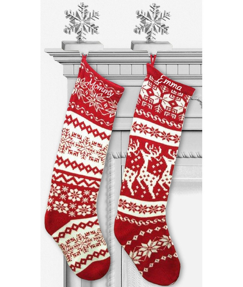 Knit Pattern Christmas Stocking : Knit Christmas Stockings - Red White - Renindeer or Snowflake Design