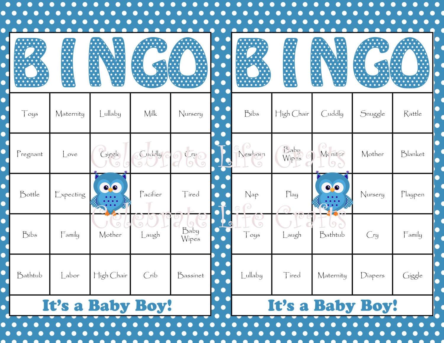 30 Baby Bingo Cards - Blue Owl Baby Shower Bingo Game Printable for ...