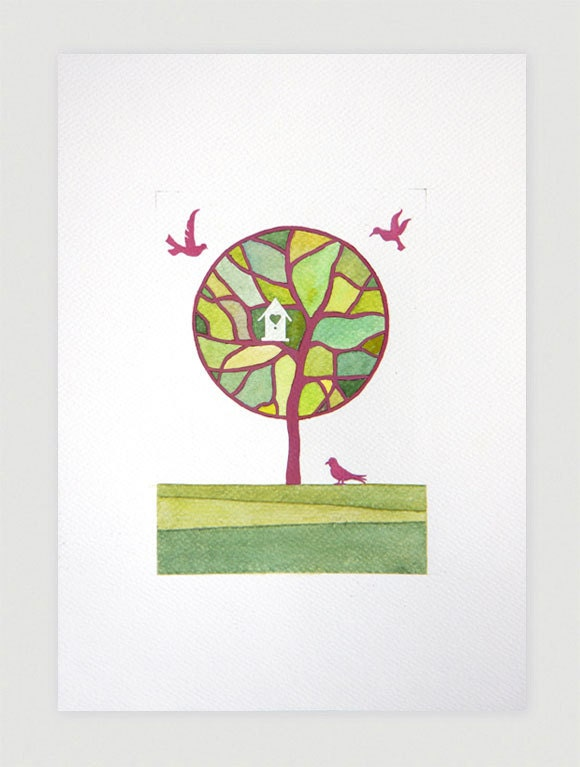 Tree original watercolor painting, pink green tree with birds and birdhouse, A4 by VApinx - VApinx