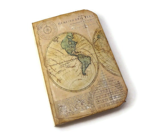 Travel Journal, Travel Scrapbook, Old World Map, Travel Photo Album, Arrows,  Art Journal, Wanderlust, Vacation Journal - Istriadesign