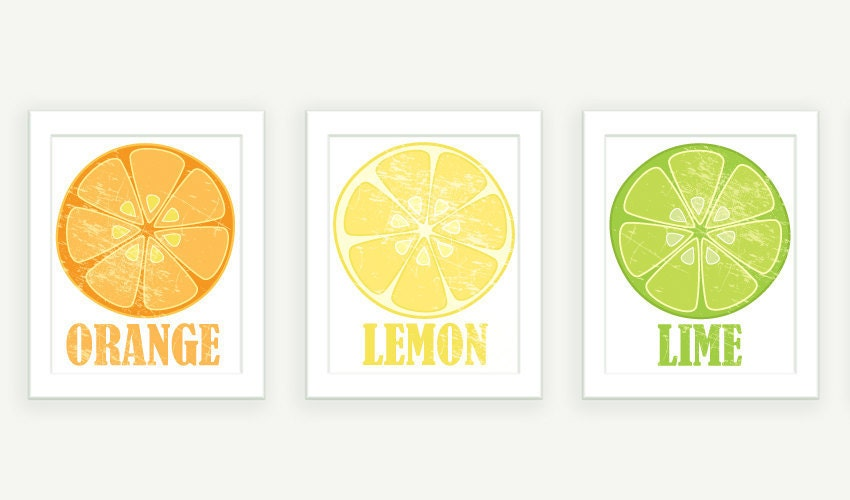 Kitchen Art - Orange Lemon & Lime - 3 Vintage Style Citrus Prints - 8x10 Illustration Prints - colorbee