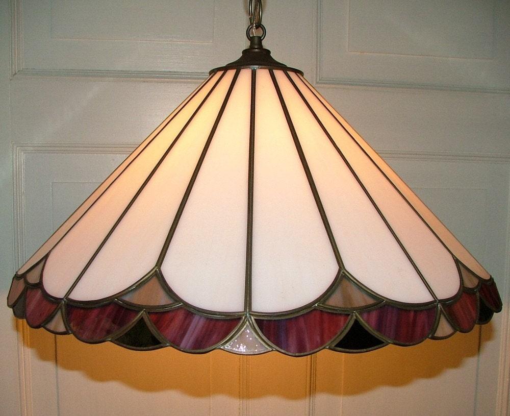 slag stained glass hanging ceiling light fixture by annslights. Black Bedroom Furniture Sets. Home Design Ideas