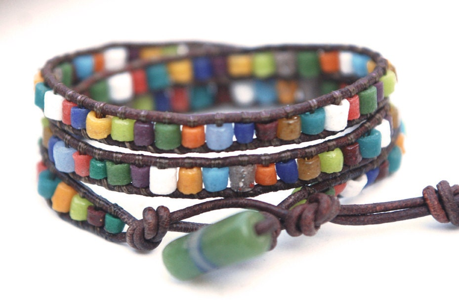 African recycled glass beads leather wrap bracelet. Colorful jewelry. For men or women. Ethnic look. WGA3v001 - JustWanderlustShop