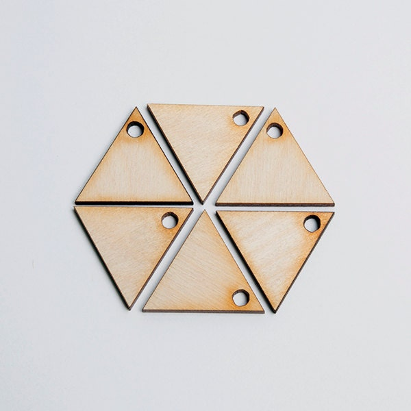 6 laser cut solid triangles. Unfinished wood. Jewelry supply. - BIRDandMOOSEsupply