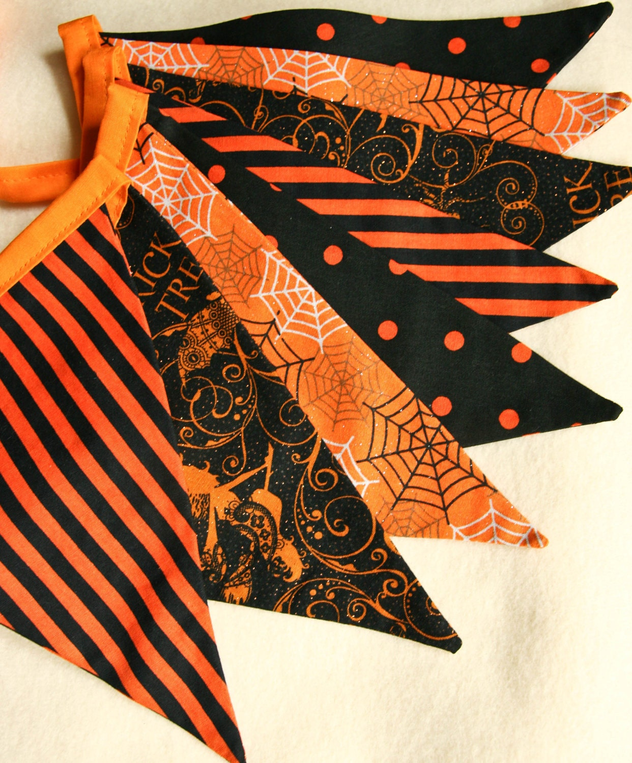Halloween Party Banner, Scary Glitter Decoration, Haunted House Bunting Flags, Eco Party Garland, Photo Prop - stitchinnetka