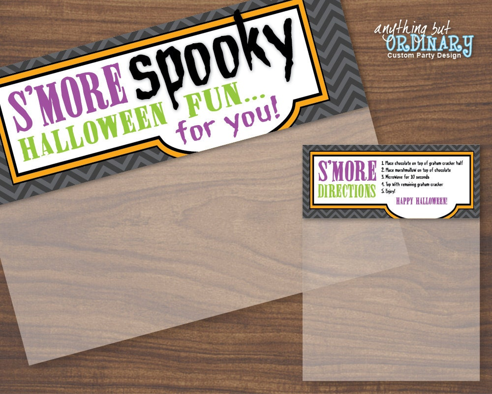 Halloween Smore Spooky Bag Topper Labels, DIY Treat Bags, INSTANT ...