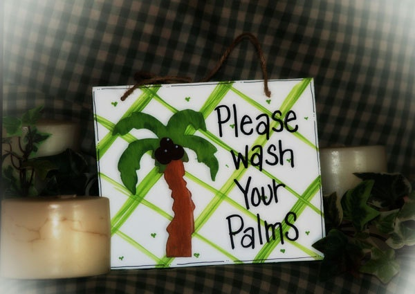 BATHROOM CABINET PALM TREE WALL