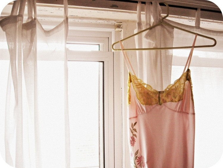 "shabby chic photography, vintage-inspired photo, pink retro lingerie, sunny, bedroom decor, 8x12, feminine, boudoir- ""Morning Is Quiet"" - helenesmith"