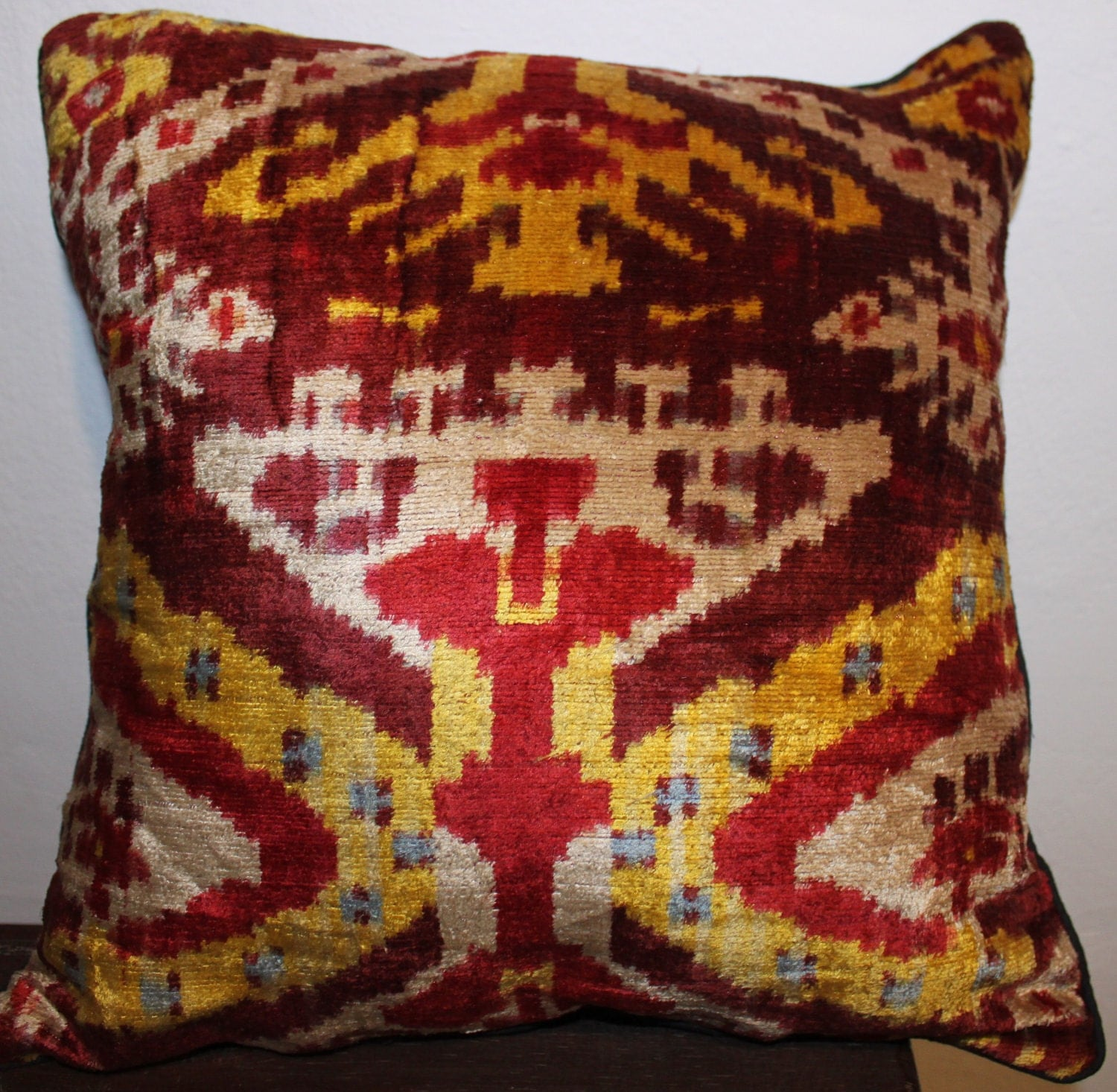 Genuine Uzbek Ikat silk velvet pillow cover