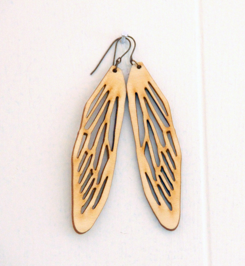 items similar to large wooden cicada wing earrings on etsy
