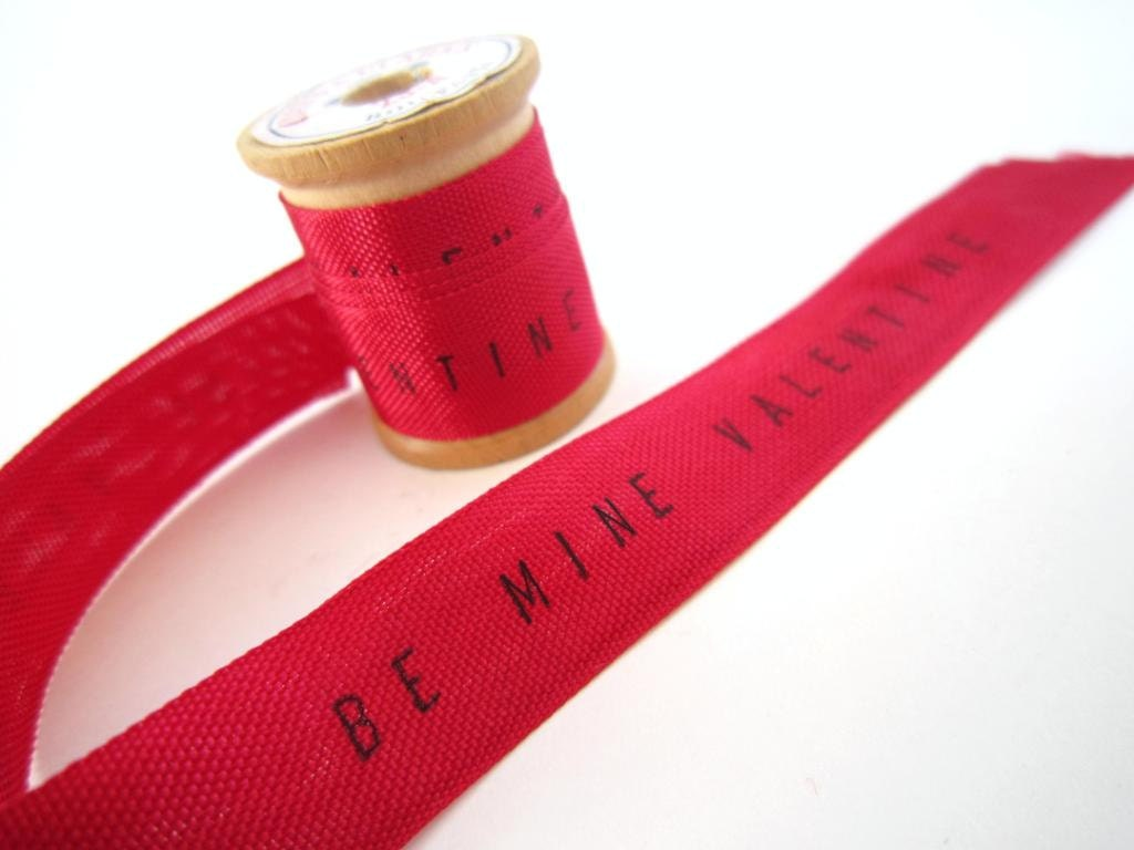 Valentine Personalized Ribbon -4 YARDS- red ribbon Be Mine Valentine gift wrapping Seam Binding Ribbon Valentine gifts decorations