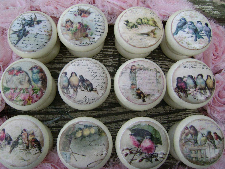 Set of 8 assorted birds shabby vintage Tweeters cream 45mm decoupage knobs