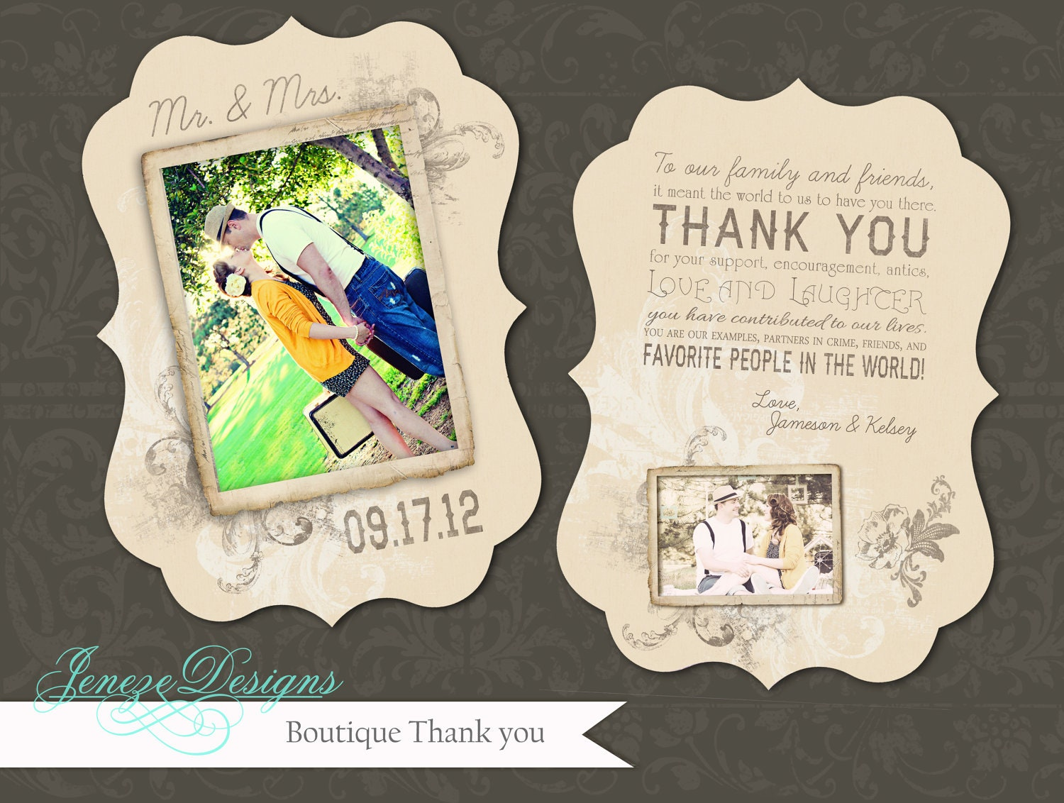 Luxe Wedding Thank You Card Template Item TC016 By Jeneze On Etsy