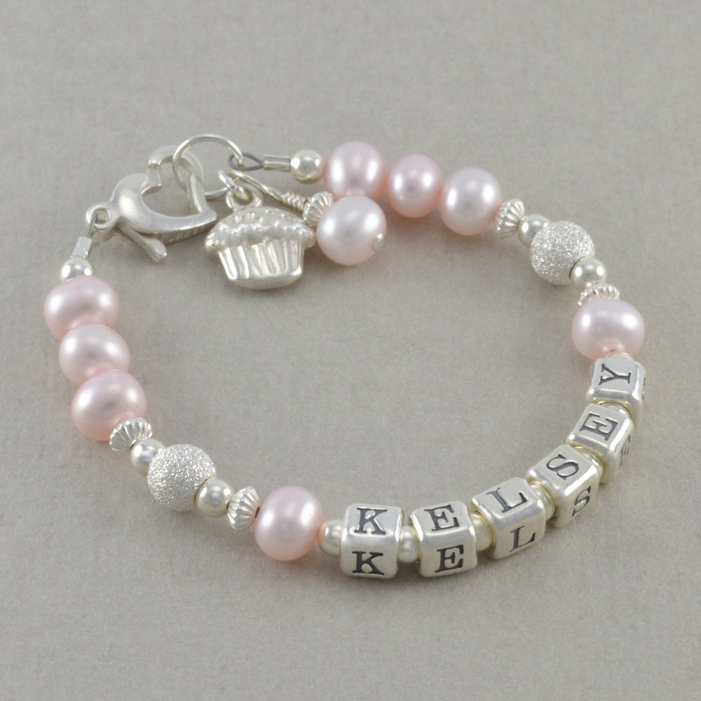 personalized name bracelet pink pearls by sixsistersbeadworks