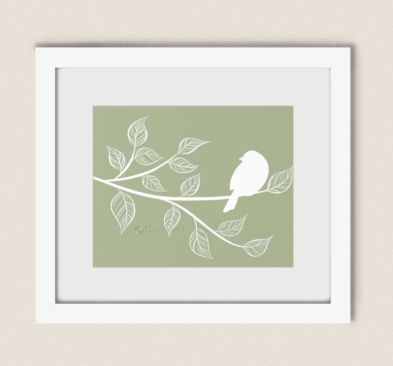 Green Nature Wall Decor, 8 x 10 Custom Print, Bird Silhouette, Spring Bird Art Print, Summer Tree Branch (20) - NaturesHeavenlyArt
