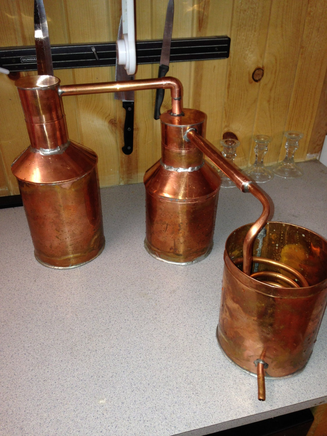 1 Half Gallon Copper Moonshine Still with Thumper by CopperFlutes