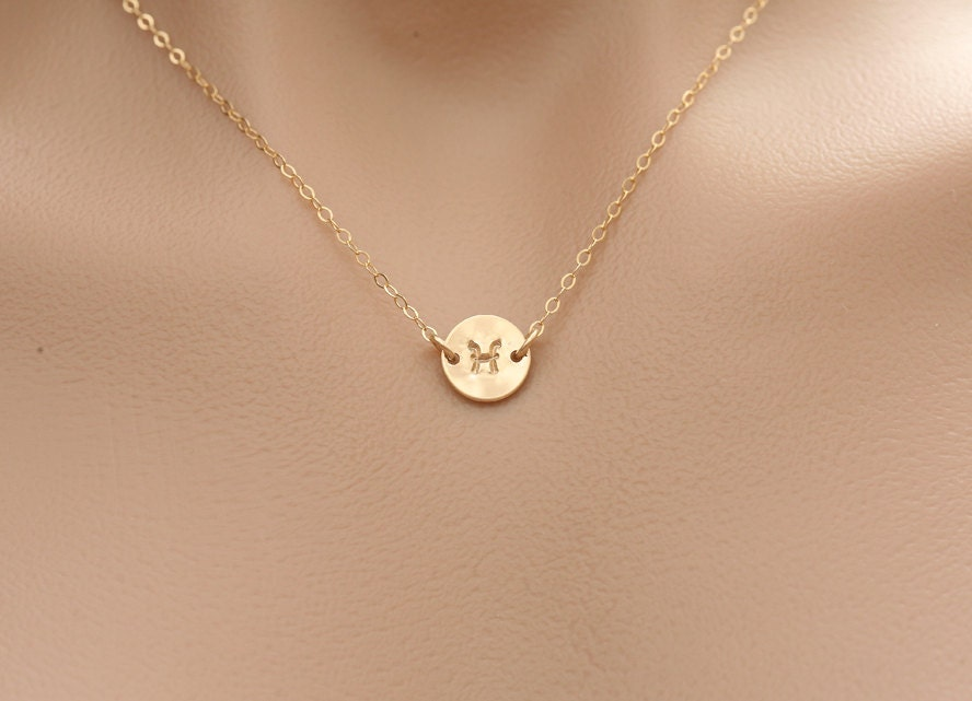 tiny monogram necklace gold initial disc charm by tydesign