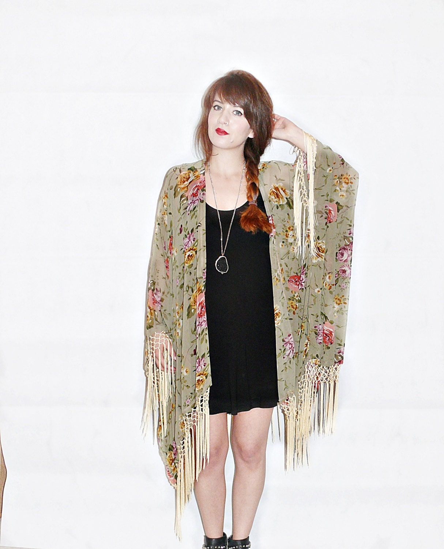 fringe kimono jacket boho kimonofloral kimono by bohokimono. Black Bedroom Furniture Sets. Home Design Ideas