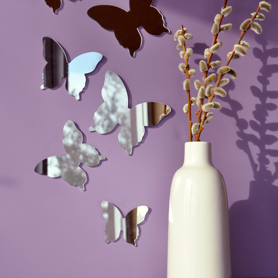 Butterfly Mirror Wall Decoration : Butterfly mirror wall decor set of by studioliscious on etsy