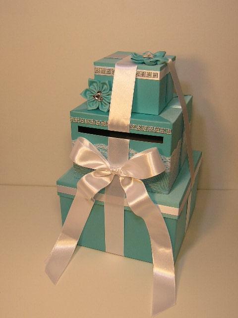 Wedding Gift Card Box Canada : Tiffany blue Wedding Card Box Gift Card Box Money Box Holder ...