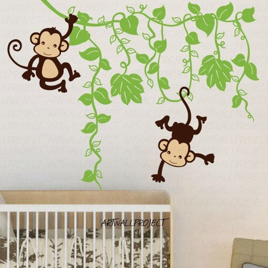 wall decal monkey in jungle a type with two monkeys monkey wall