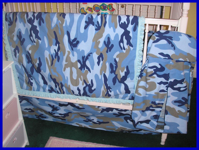 Blue Camoflauge Camo New 7 Piece Crib Bedding By