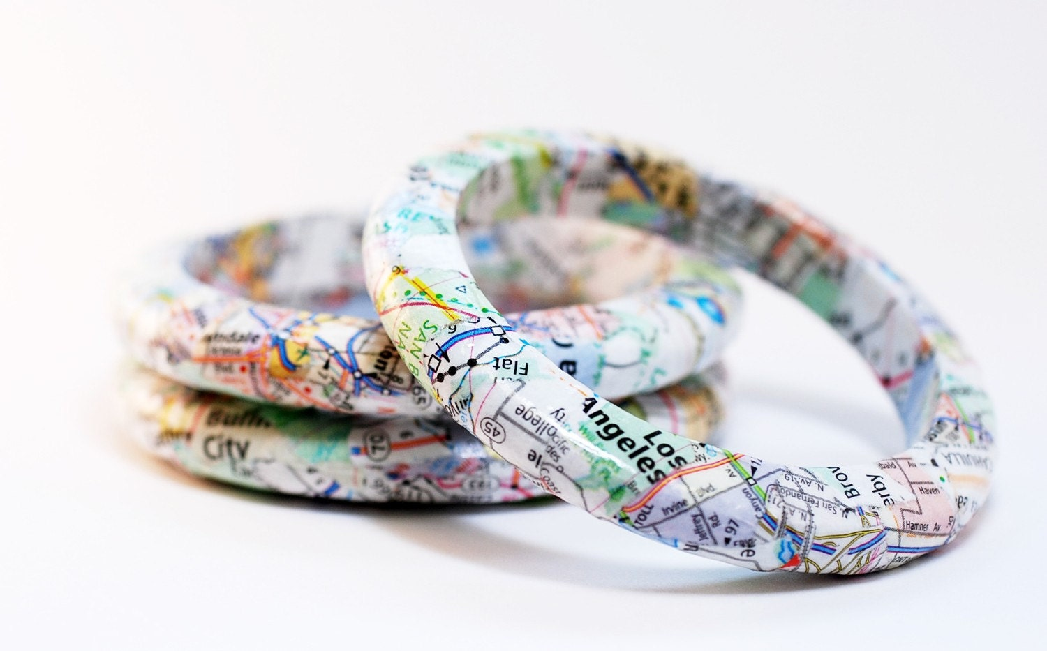 Recycled California Map Eco-Friendly Bangle Bracelet - New Directions - SquishySushi