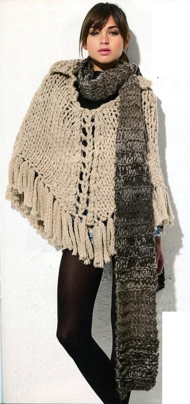 Knitting Pattern Poncho Bulky Yarn : Super Bulky Poncho and Scarf English by AliceInCraftyland ...