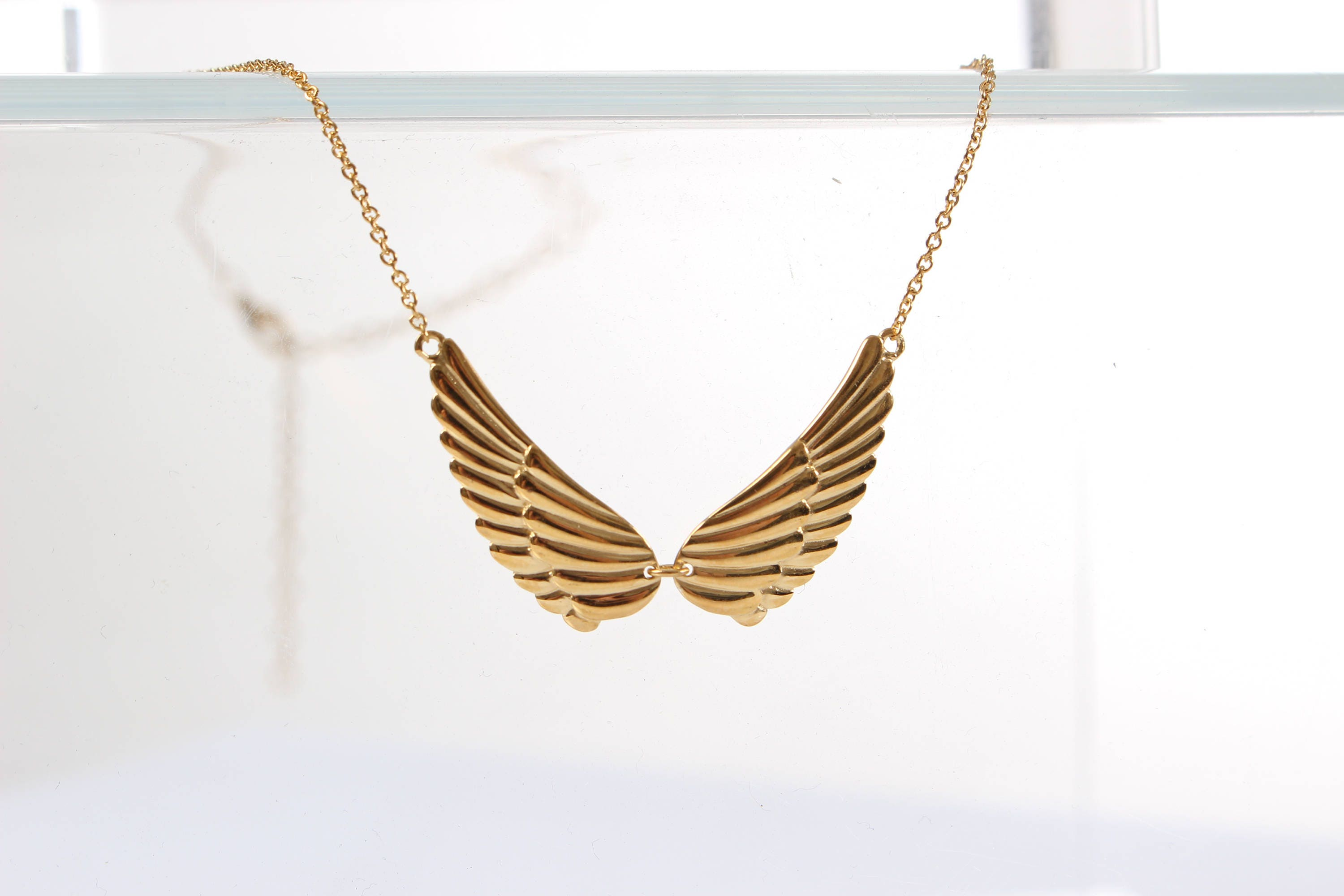 9ct Gold coated elegant two angel wings design pendant Sterling silver necklace
