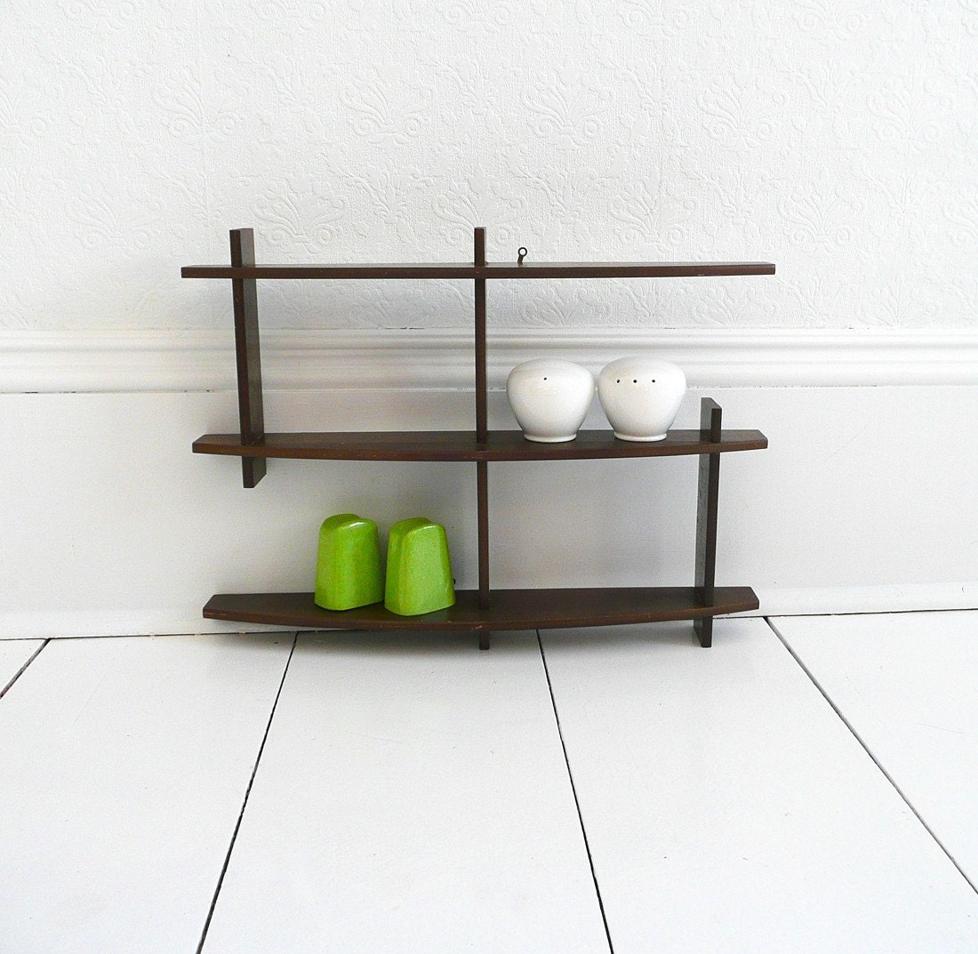 Mid Century Modern Wooden Hanging Wall Shelf by