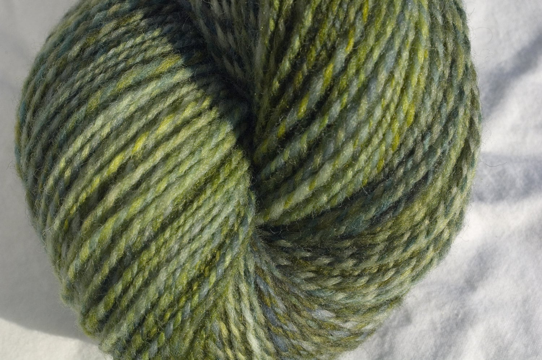 Handspun Falkland Wool Yarn, 308 yds in Spring Green - AliCatFiberarts
