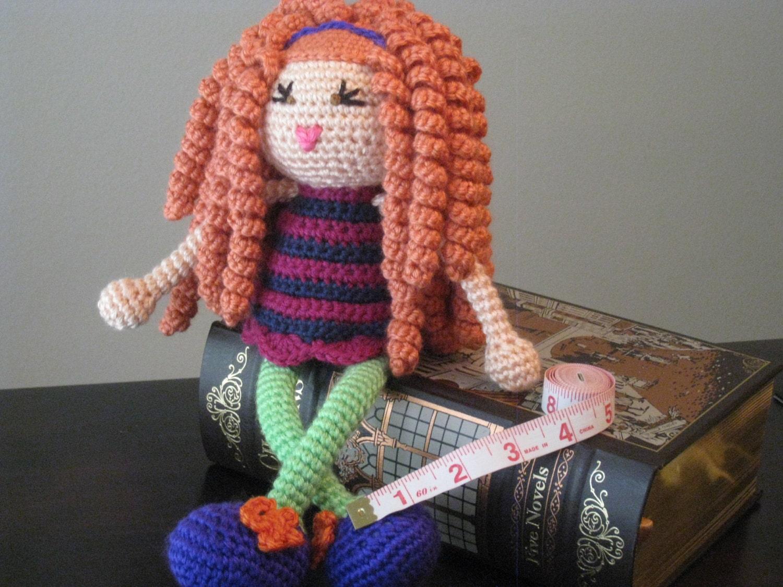 Amigurumi Hair Curly : Items similar to Crochet Plush Doll Vegan Red Orange Curls ...