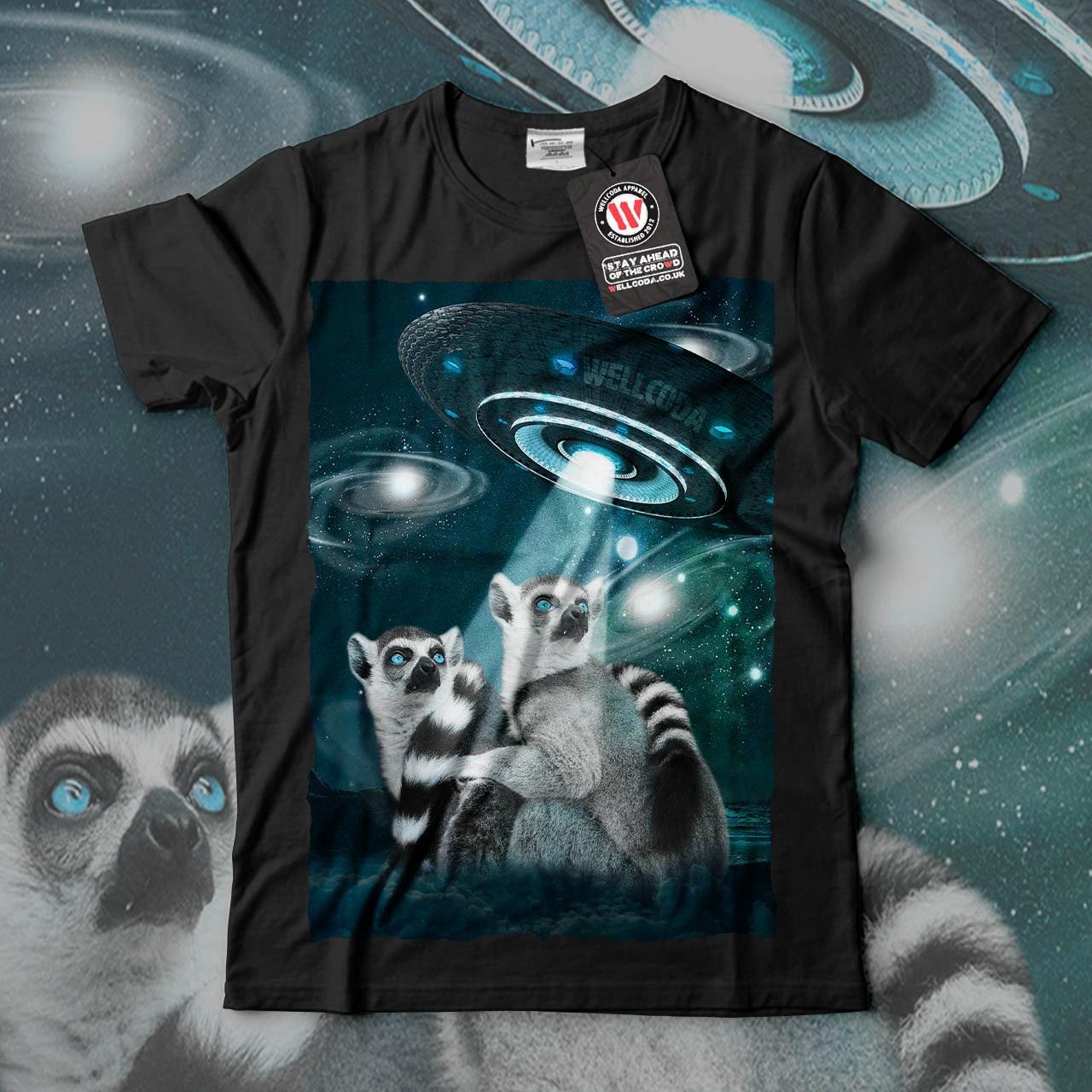 Lemur Spacecraft Space Animal Men Black White Grey Red Royal Blue Tshirt S5XL NEW  Wellcoda y1347