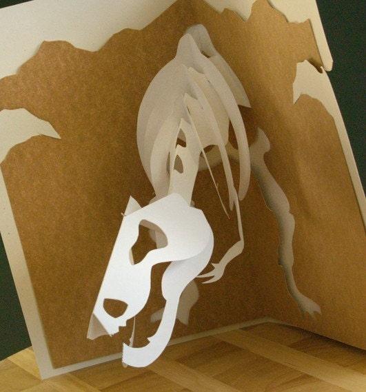 Kirigami T-Rex Bobblehead Pop-up Card Make by popupcardmaking