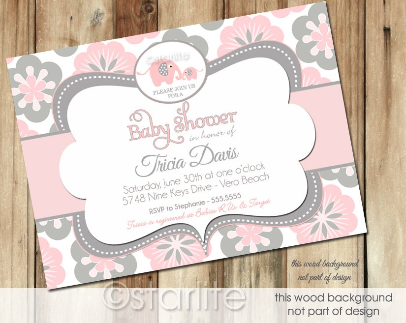 elephant baby shower invitation pink and gray grey blooms floral