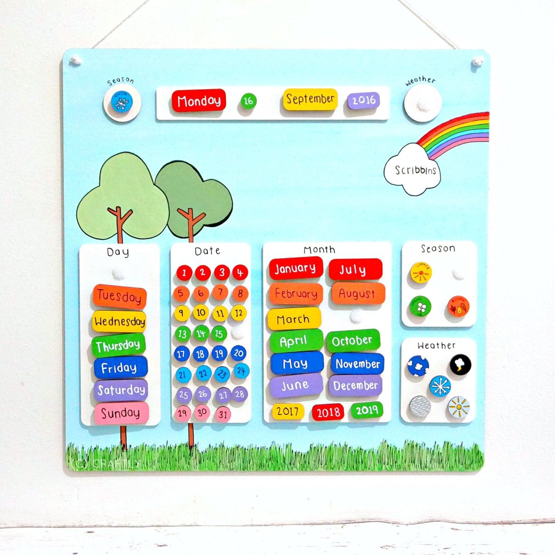 Childrens Monthly Calendar Personalised Kids Calendar