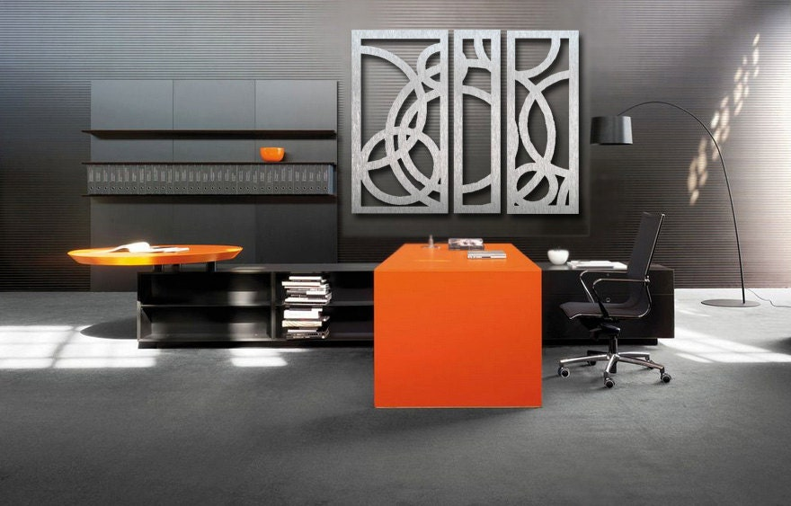 Office wall art metal wall art art decor abstract for Sample office interior designs