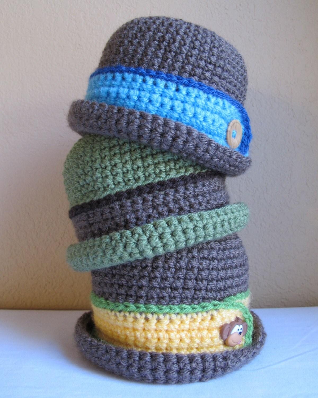 CROCHET PATTERN - Downtown Boy - a beanie/bucket hat with button in 8 ...