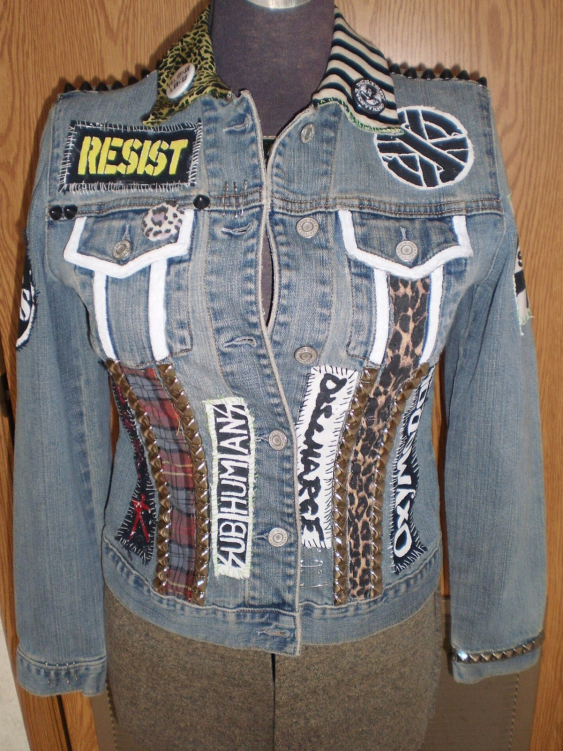 Diy Punk Studded Denim Jacket By Blitzclothing On Etsy