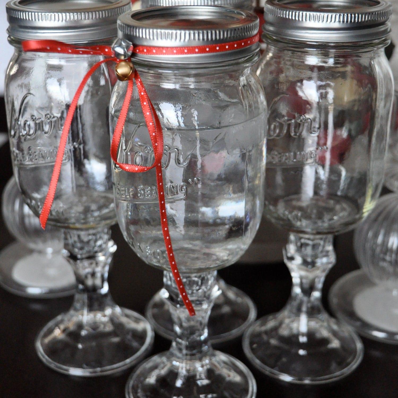 Four 4 redneck wine glasses mason jar goblets by shatteredlily - Mason jar goblets ...