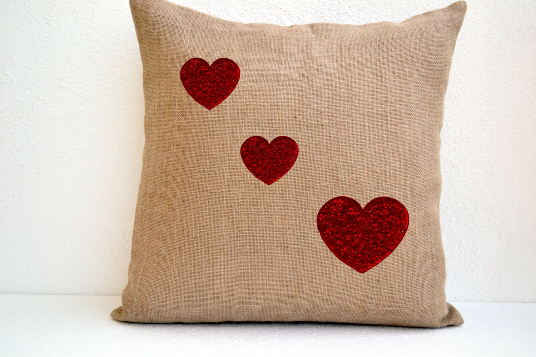 Red Heart Decorative Pillow : Burlap Pillow cover with red heart Decorative heart by AmoreBeaute