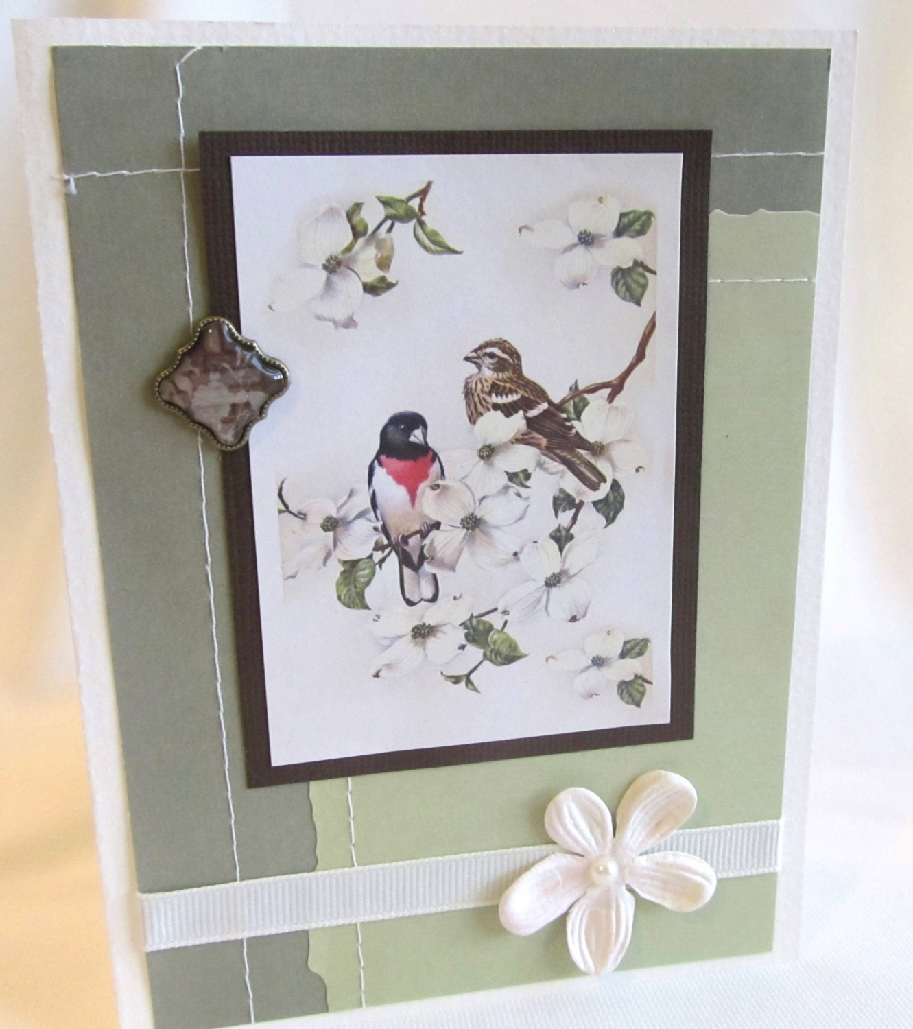 All Occasion Card - Handmade Card - Ivory Card - Blank Card - Birds and Flowers - Soft Natural Tones - Vintage Style - Charming Detail - PrettyByrdDesigns