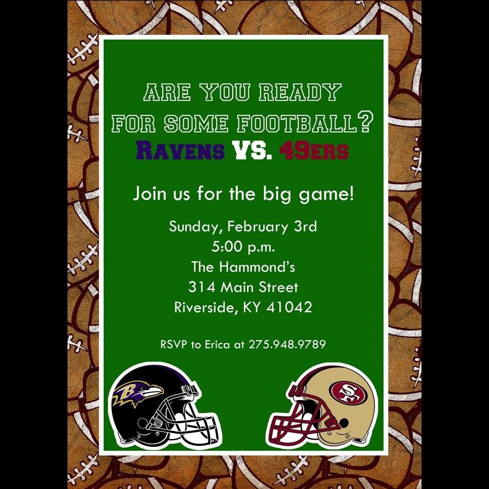 Super Bowl Football Invitation Printable By Cardsbycarolyn On Etsy