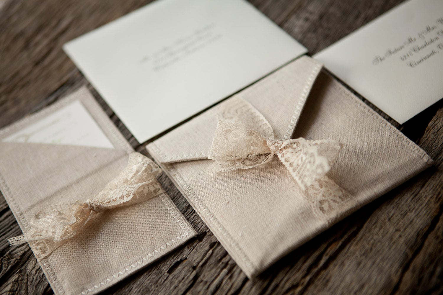 linen and lace pocket fold wedding invitations by blueenvelope