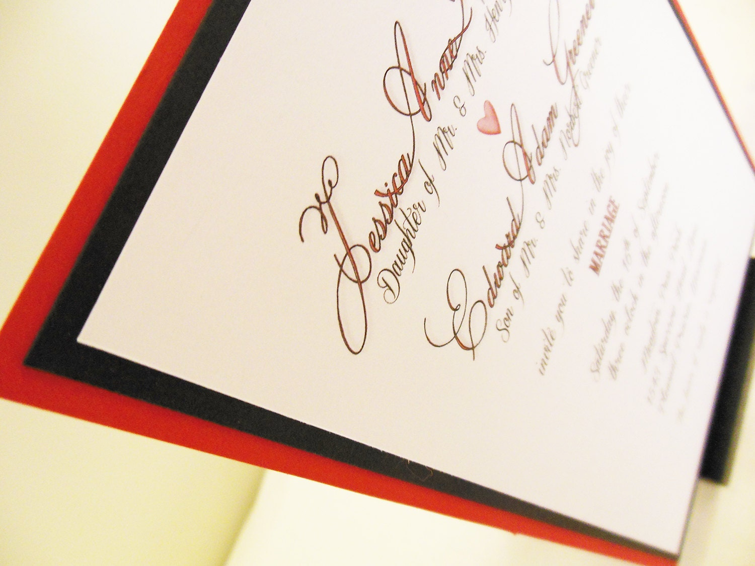 Red & Black Wedding Invitation - PoshestPapers