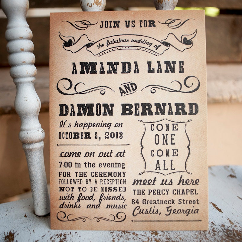Rustic Backyard Wedding Invitations : Unavailable Listing on Etsy